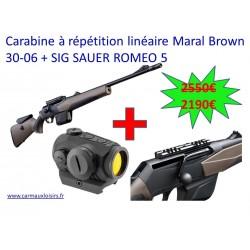 Carabine à répétition linéaire Maral Brown Adjustable Cal 30-06 + Sig Sauer Romeo 5