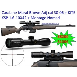 Carabine Maral Brown Adj cal 30-06 + KITE KSP 1.6-10X42 + Montage Nomad