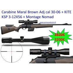 Carabine Maral Brown Adj cal 30-06 + KITE KSP 3-12X56 + Montage Nomad